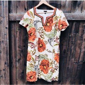 Dana Buchman Floral Cotton Short Sleeve Dress